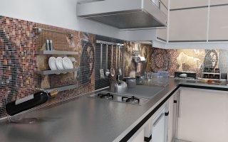 Оформление фартука на кухне мозаикой